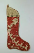 Antique Felt Printed Christmas Stocking with Santa in Sleigh