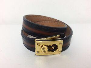 Fendi Black Brown Striped Leather Double Wrap Gold Tone Buckle Bracelet