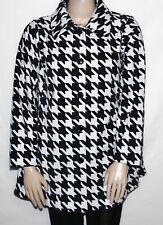 Pre-owned Bob Mackie's PLUS 1X CREAM Houndstooth Print Fleece Jacket
