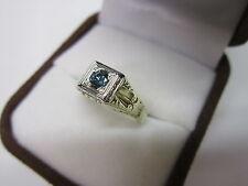 GORGEOUS ESTATE 14 KT 18 KT GOLD VIVID BLUE DIAMOND RING 4.1 GRAMS !!!!!!!!!!