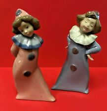 LLADRO Nao Pink & Blue Girl Clowns; Mint Condition: ADORABLE!