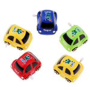 5 Pieces Wind-up Cartoon Car Toy for Kids Party Favors Red Green Blue Yellow