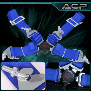 """Blue 4 Point 2"""" Cam Center Lock Quick Release Nylon Seat Belt Harness Safety"""