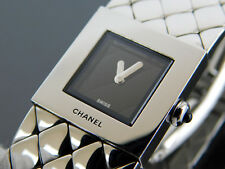 Authentic CHANEL Matelasse Black x Stainless Steel Quartz Ladies Wrist Watch
