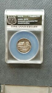 2017 S Frederick Douglass Quarter Coin Anacs EU 70 225th Anniversary