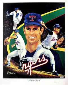 Nolan Ryan Autographed Texas Rangers 1992 Angelo Marino 19x24 Lithograph TRISTAR