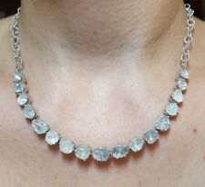 Big 8ct polki rose cut Diamond silver 925 necklace adjustable 19 inch