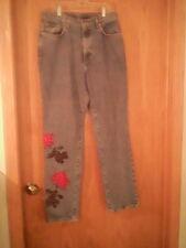 """Calvin Klein women's blue jeans, 12, floral & beads, cotton, waist 32"""" inseam 32"""