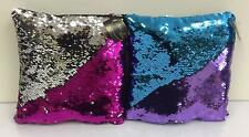Set Of 2 Mermaid Magic Colour Changing Sequin Cushions - Silver & Pink,Turquoise