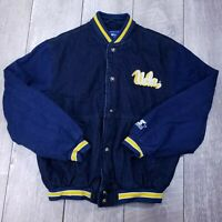 Vintage Starter UCLA Bruins Denim Varsity Bomber Jacket Mens Small Button Snap