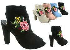NEW Women's Big Flower Peep Toe Side Zipper Heel Ankle Booties Shoes Size 6 - 11