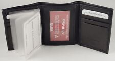Mens Trifold Genuine Leather RFID Blocking Wallet Black AG Wallets