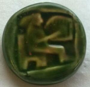 Handmade green ceramic brooch Celtic? Gaulish? Cláirseach Harp / Lyre Musician