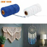 2mm Macrame Rope Cotton Twisted Cord Hand Craft String Supply Home DIY K2H6