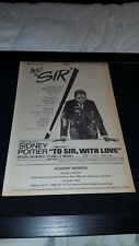 To Sir, With Love Sidney Poitier Rare Original 1968 Promo Poster Ad Framed!