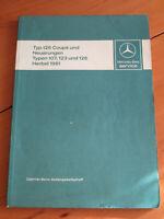Werkstatthandbuch Mercedes W 126 Coupe  1.Serie  - R 107 Einführung Service 1981