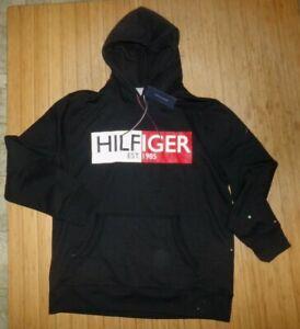 NWT MENS TOMMY HILFIGER HOODED L/S SWEATSHIRT~BLACK~SZ XL