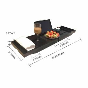 Wooden Bathtub Caddy Tray Strechable Non-slip Bottom with Two Movable Shelves