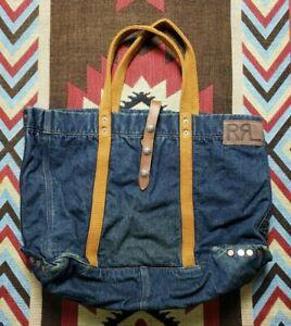 Double RL RRL Ralph Lauren Indigo Denim Leather Helm Tote Shoulder Bag Messenger
