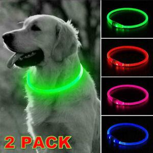 2x USB Rechargeable Dog Pet LED Collar Flashing Size Adjustable Safety Light Up