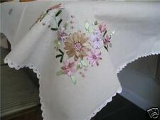 "Silk Ribbon Embroidery Drawn Work Table Cloth 54""x72"""