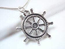 Nautical Ship Wheel Necklace 925 Sterling Silver captain sea sail ocean