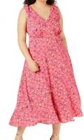 Betsey Johnson Women's Dress Pink Size 20W Plus A-Line Floral Midi $128 #138