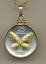 "Philippines 25 sentimos ""Butterfly"" Coin Necklace Gold filled Bezel"