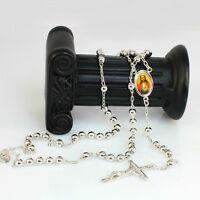 60 cm, Silver Toned Rosary Pray Bead Jesus Cross Crucifix Pendant Necklace
