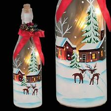 Weihnachtsdekoration 29cm Batterie Aufleuchtend Glasflasche - Häuser