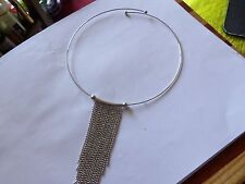 REALLY UNUSUAL SILVER TONE NECK WIRE WITH  DIAMOND CUT BALL FRINGE 40-123