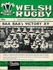 Welsh Rugby Revista De Marzo De 1973 bárbaros / Nueva Zelanda todos los negros, Tenby Utd