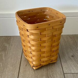 Longaberger 1999 Small Square Waste Basket with Protector - Smoke Free Home