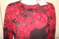 NWT '18 TALBOTS BORDEAUX/BLACK FLORAL 100% CASHMERE AUDREY SWEATER TOP L $169