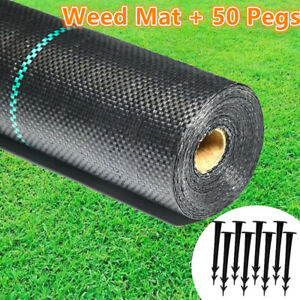 Heavy Duty Weed Membrane Weed Control Fabric Barrier Suppressant Garden + Pegs