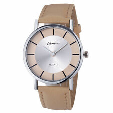 Ladies Fashion Geneva Quartz Silver Tone Case Khaki Band Wrist Watch.