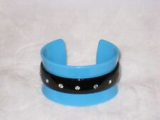 Lucite Rhinestone Blue Bangle Bracelet Cuff