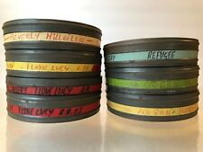 """VTG 1970s TIN MOVIE FILM CANS~7pc~7"""" EASTMAN KODAK~EMPTY~CANISTER TV SHOW TITLE"""