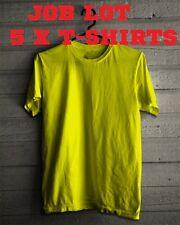 5 Pack Plain Blank Cotton T-shirt Yellow 2XL job lot wholesale job lot T shirt