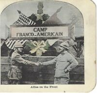 Camp Franco-American, Allies on the Front, World War One, c1918 Stereoview Card