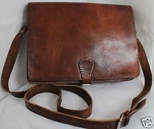 006 Vintage Style Real Leather Bag Satchel Messenger Briefcase Laptop Brown