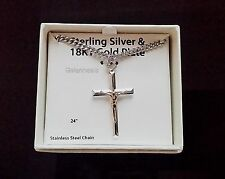 "Men's 925 Sterling Silver & 18k Gold Cross Pendant With 24"" Necklace Chain-NEW"