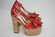 NEW Moschino 'Bandana' Paisley Platform Sandal Cork Wedge - Red - Size 6US (Z15)