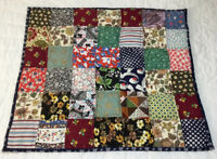 Patchwork Quilt Table Topper, Four Patch Squares, Multi Color Calico Prints