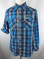 NWT Rolling Paper Co. Men's L Large Blue White Plaid Checks Long Sleeve Shirt
