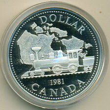 1981 CANADA RAILROAD PROOF DOLLAR, WITH CASE, GREAT PRICE!