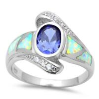 Blue Opal & Cz Fashion .925 Sterling Silver Ring Sizes 5-11