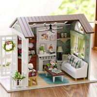 DIY Miniature Dollhouse Kit Mini 3D Wooden House  with Furniture LED Lights H4U9