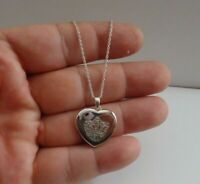 Chic Signed Vintage Sterling Silver Guilloch\u00e9 Heart Picture Locket Pendant 1960/'s Jewelry 2097
