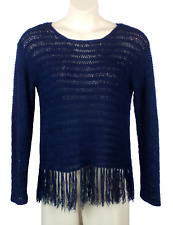 Womens Lane Bryant Crocheted Knit Top Blouse Dark Blue Plus Size 14/16 Fringe